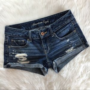 American Eagle Distressed Denim Jean Shorts Size 0